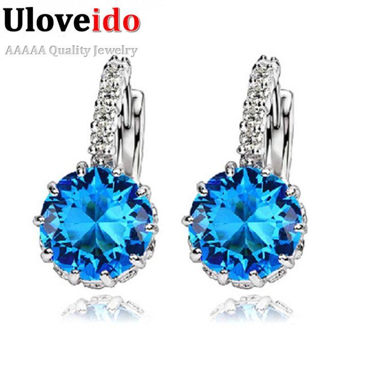 Uloveido Women Stud Earrings 925 Sterling Silver Blue Crystal Earring Pink Rhinestone Earings Fashion Jewelry 49% off DML49  ** Klik tombol KUNJUNGI untuk penjelasan rinci