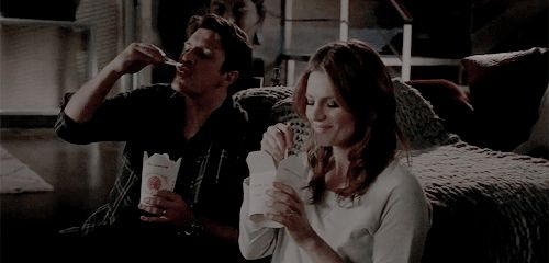 """kate–beckett: """"""""I thought that a quiet night in would be nice for a change."""" """""""