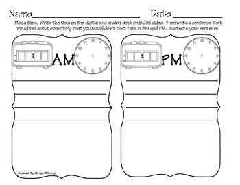 Thank you for looking at my AM/PM Activity!Kids can choose a time and draw it on all four clocks.  Then they write and draw about something they would do during the AM and PM at that time.