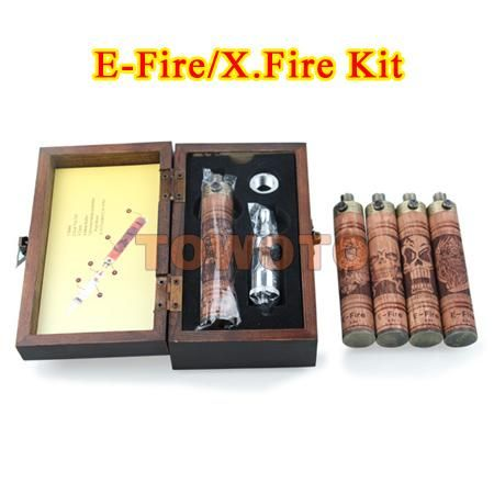 E-Fire Wood Mod Kit Variable Voltage Battery Wood E Cigarette X fire Electronic Cigarette X.fire E Cig Battery VV Mod E Cigarette Kit TOWOTO