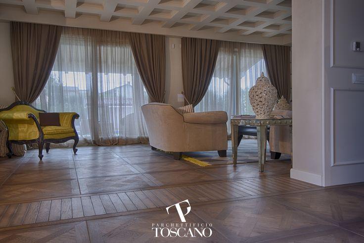 Pavimento a disegno modello Leonardo, finitura speciale English Style, colore brown