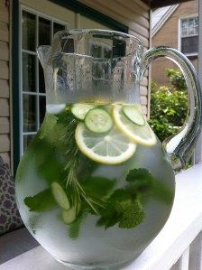 For my health kick: 3 lemons sliced 1/2 cucumber A bunch of mint leaves (per gallon of water) Preparation: 1. Slice lemons and cucumbers, wash mint leaves and place in a gallon of water. 2. Let it sit over night in the fridge so the water can soak up all the flavors. Drink up and enjoy the next day! The lemon and water acts as a natural detox that helps flush the impurities out of your system.