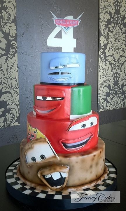 A fun variation of the Disney Cars themed cake. This is a very cool look!