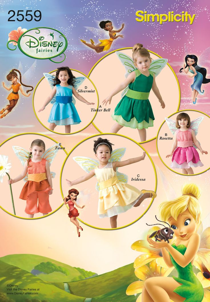simplicity 2559 disney fairies sewing pattern includes tinker bell silvermist iridessa rosetta and fawn size 4 - Childrens Halloween Costume Patterns