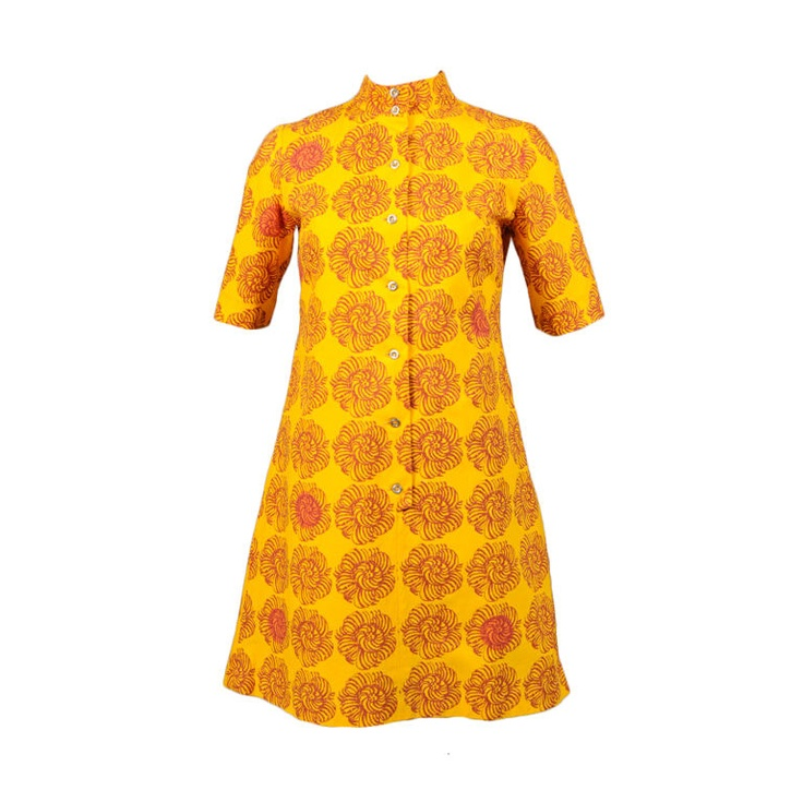 Marimekko Dress, 1962. Finland. Early Marimekko for Design Research. Saffron yellow with a large burgundy flower. Some flowers overprinted with a bright orange in a random pattern. (amended description from seller Katy Kane)