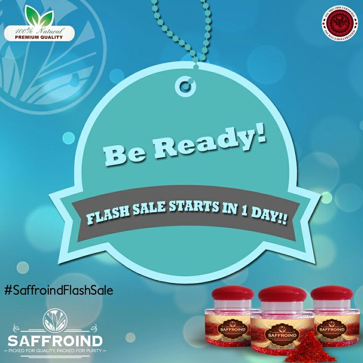 SAFFROIND FLASH SALE STARTS IN 1 DAY!!! Buy a saffron like never before at a price like never before! FLAT 50% OFF only this THURSDAY from 12PM to 7PM. #SaffroindFlashSale #sale #flat50 #superdiscount #discount #discounts #flashsale #flashsales #spiceshopping #exclusivediscount #limitedperiod #limitedoffer #offer #getdiscount #bestoffer #bestdeal #halfprice #halfpricesale #spiceworld #spiceforlife #saffron #saffronthreads #kesar #doorstepdelivery #cashondelivery