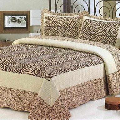 3PCS Zebra Pattern Washed Cotton Quilt Set – USD $ 79.99