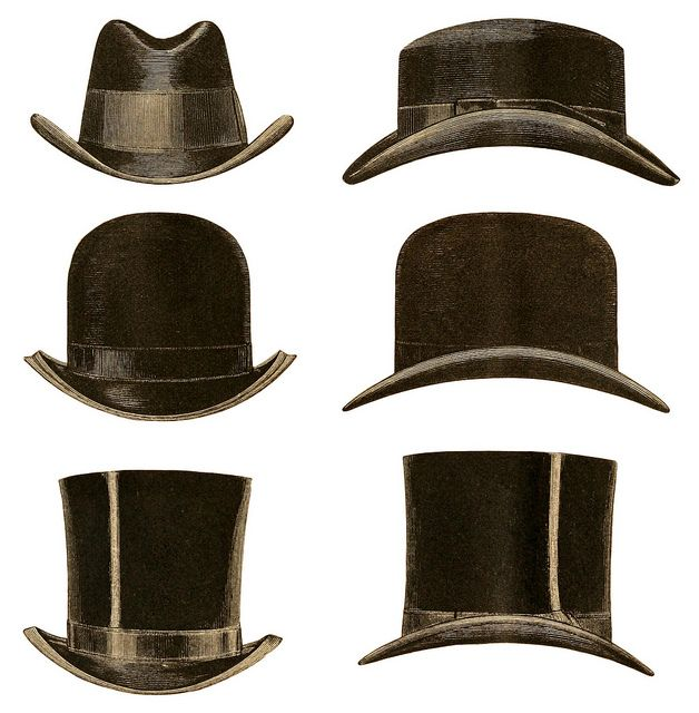 vintage gentlemen's hats - credit the originator Plaisanter~ over at Flickr.com if you use it http://www.flickr.com/photos/plaisanter/5400192718/in/set-72157625251611390