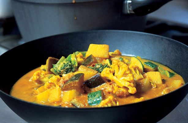 Gordon Ramsay's easy vegetable curry recipe is perfect for vegetarians. It's packed full of delicious veggies with plenty of flavour too thanks to the chilli, cardamom and curry paste. This hearty curry serves 2-4 people and will take around 20 mins to prepare and cook. This dish is healthy too counting towards your 5-a-day. The rich, tomato-based sauce really does pack a punch.