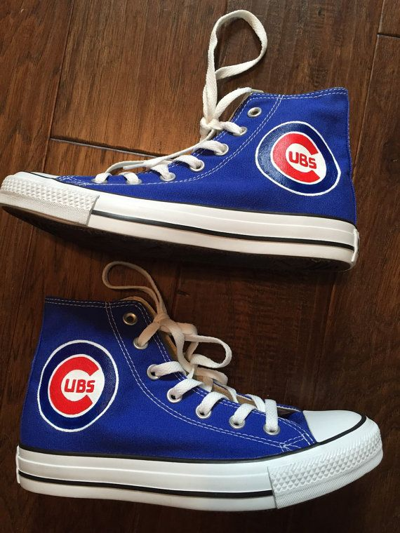Painted Shoes Chicago Cubs Converse by PaperPaintScissors on Etsy