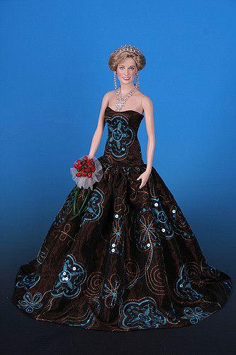 https://flic.kr/p/5vXhcS | ~~AUTUMN GOLD~~ dress for Princess DIANA doll Franklin Mint (vinyl)