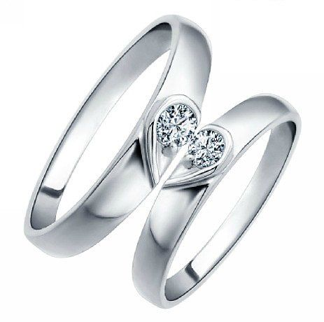 2pcs 925 silvers promise rings plate with the purple platinumcouple rings wedding - Platinum Wedding Rings For Her