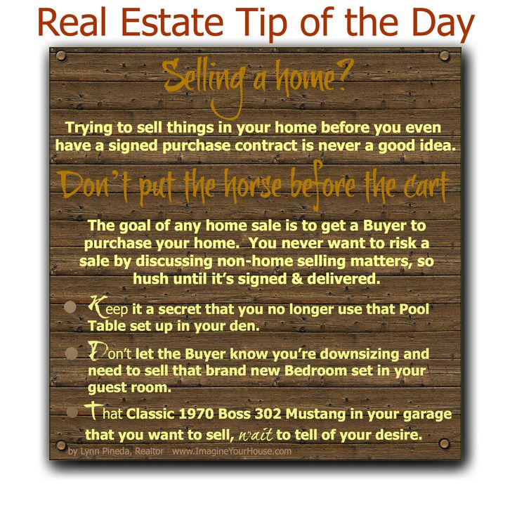 Real Estate Tip of the day when selling a home - Don't put the horse before the cart!  #homesellingtips #realestate #realestatetips