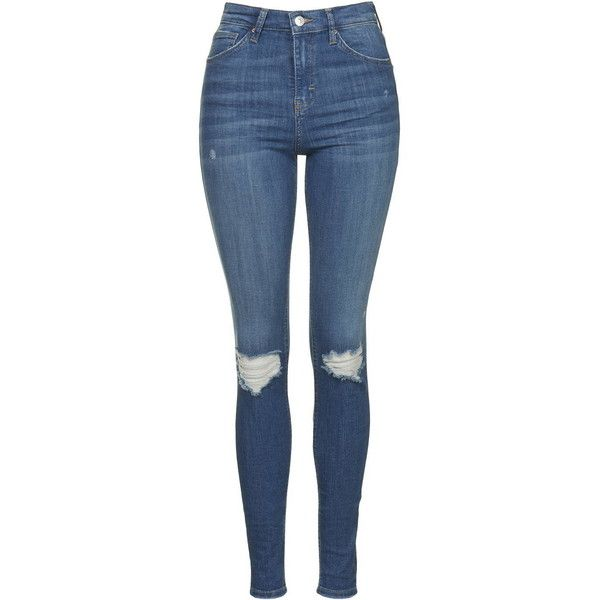 TopShop Moto Authentic Rip Jamie Jeans (£42) ❤ liked on Polyvore featuring jeans, trousers, blue, destroyed skinny jeans, skinny jeans, denim skinny jeans, stretch jeans and high waisted jeans