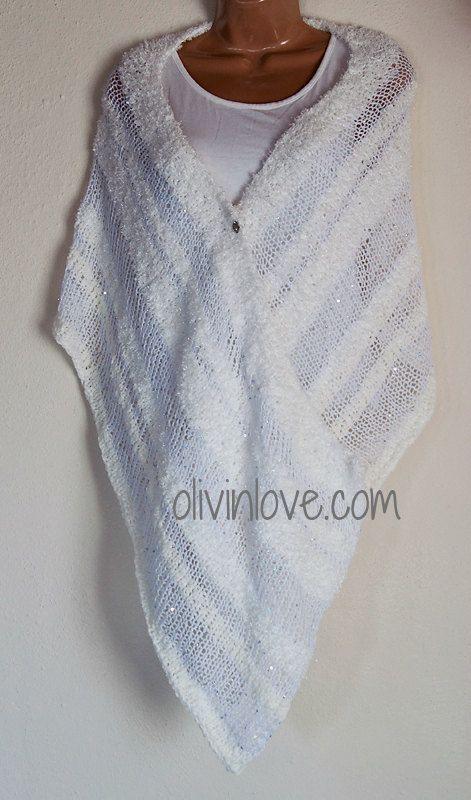 White shawl by OLIVINLOVE on Etsy