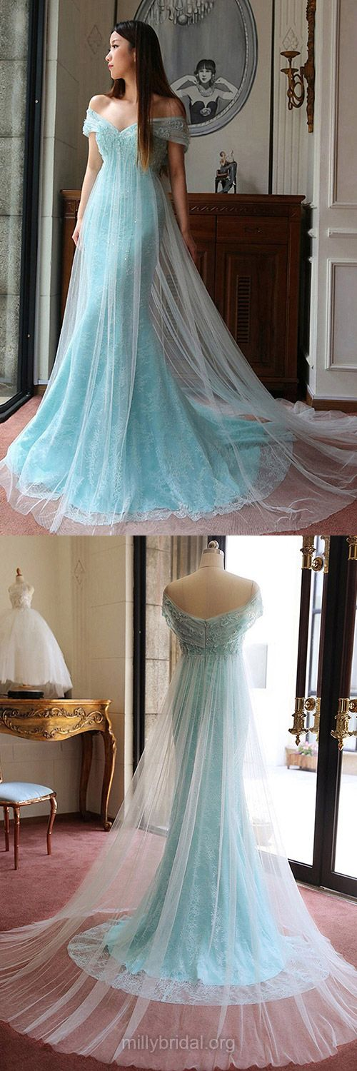 Mermaid Prom Dresses Lace, Blue Prom Dresses Long, Tulle Sweep Train Sequins Ladies Off-the-shoulder Prom Dresses