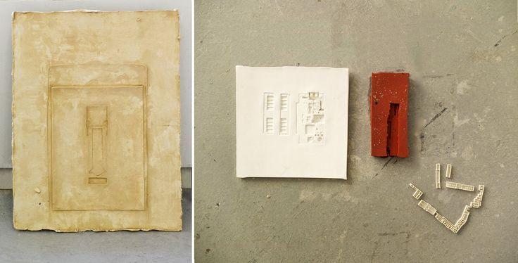 "Material Matters – Fragment 01 // Scanner / Temple plan / Totem head, Γύψος, 2015 // Ανασκαφή / Μητρική / Ταφές Kεραμικό, 2015 //  Πέρασμα Σιλικόνη / 2015 // 3D printing απεικόνιση // Μια σειρά εργαλείων του παρελθόντος, που έχουν απορριφθεί, επαναπροσδιορίζονται ως ένας άλλος ""θησαυρός"" αφιερωμένος σε αυτό που μέλει να έρθει. Αποτελούν θραύσματα ενός προηγούμενου τρόπου ύπαρξης, κλειδιά ανάγνωσης της διαχρονικής σχέσης εργασίας και κατοίκησης. (Ομαδική έκθεση στο Αρχαιολ. Μουσείο Δελφών…"