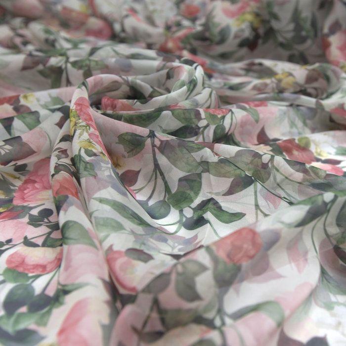 Tecido gazar toque de seda floral off white - Maximus Tecidos | Loja Online