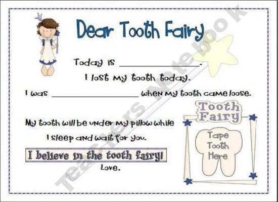 Mrs-Pereas-Kinder-Eagles Shop - | Teachers Notebook Tooth Fairy note