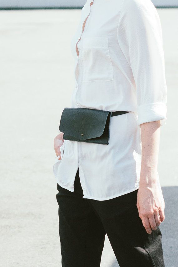 Belt bag leather black leather waist bag leather by TOMBERgoods