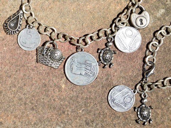 Collana catena modello vintage con monete e di EtVoilaBijoux