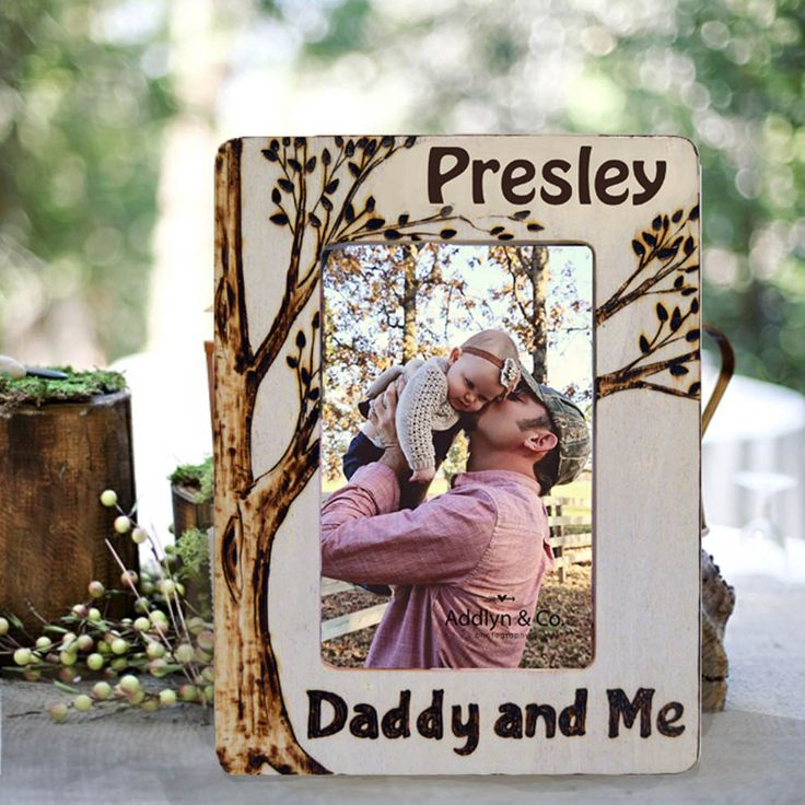 Daddy and Me Picture Frame, Wood Burned, Personalized by PaintBrushedBoutique on Etsy