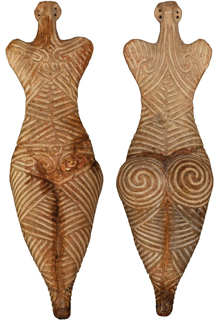 Female clay figure, Cucuteni culture, Romania, Fifth Millennium B.C. Archaeology magazine.