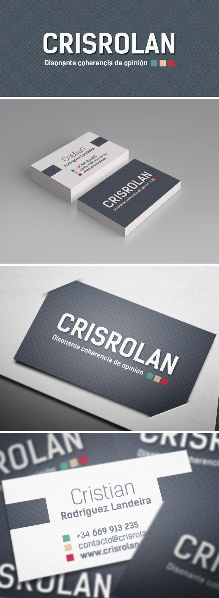 Identidad corporativa, diseño de tarjetas de visita y diseño web http://www.ainaragm.es/portfolio/crisrolan/