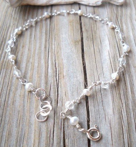 925 Sterling Fresh Water Pearl,Swarovski Anklet  | pavlos - Jewelry on ArtFire