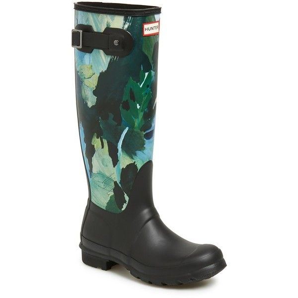 """Hunter 'Original Tall - Botanical' Rain Boot, 1"""" heel (£120) ❤ liked on Polyvore featuring shoes, boots, black, knee-high boots, black wellington boots, tall black boots, hunter boots, tall knee high boots and floral rain boots"""