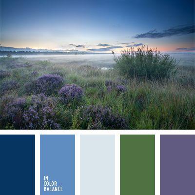 azul aciano pálido, azul oscuro, azul oscuro apagado, color azul aciano, color campo de lavanda, color celeste, color lavanda, color verde hierba, colores de la pradera verde, matices del azul oscuro, verde apagado, violeta apagado, violeta y verde.