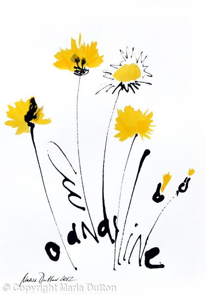Dandelions 3 - Ink, watercolours on paper maria Biryukova Dutton