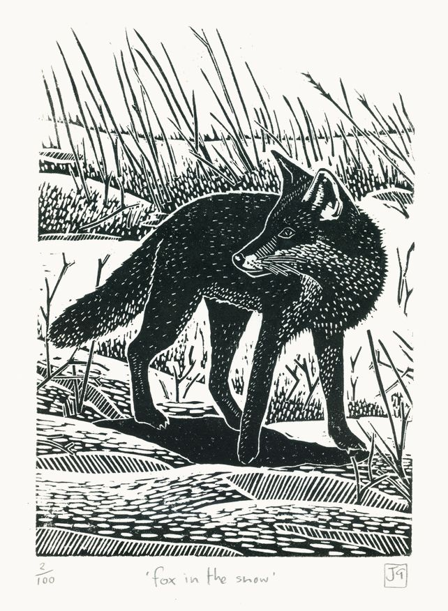 Fox In The Snow linocut print, by James Green on Folksy