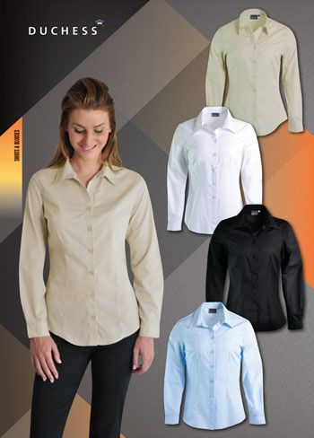 The long sleeve ROSELINA blouse celebrates the female form with its front and back darts and curved waistline. Enjoy this timeless classic corporate style in 3 colours.  FABRIC: Polycotton  FEATURES: - Front and back darts - Classy engraved DUCHESS buttons - CLASSIC FIT is more tailored without being too fitted - High quality comfortable polycotton fabric  LADIES SIZES: 28 - 30 - 32 - 34 - 36 -38 - 40 - 42 - 44 - 46 - 48 - 50 - 52