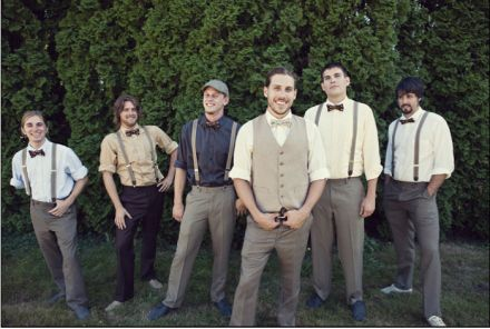 Vintage Inspired Wedding - groom-and-groomsmen-in-suspenders