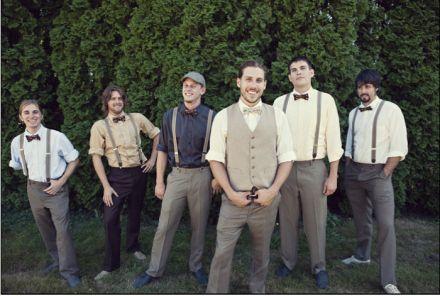 Vintage Inspired Wedding - groom-and-groomsmen-in-suspenders