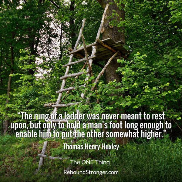 The rung of a ladder was never meant to rest upon, but only to hold a man's foot long enough to enable him to put the other somewhat higher. - Thomas Henry Huxley