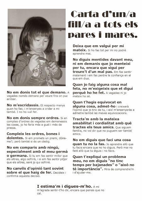 Educació Líquida: L'Infant Feliç. Carta d'un fill/a a tots els pares i mares