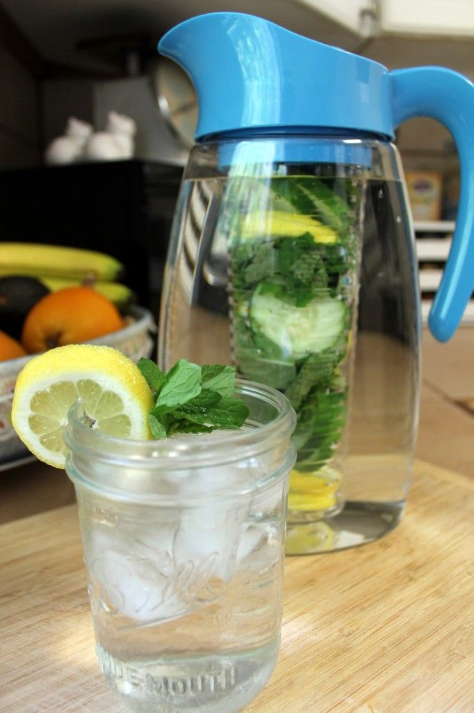 Cucumber lemon mint infused water to stop bloating.