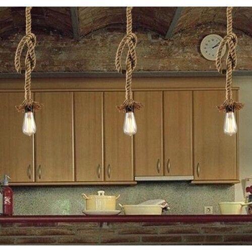 Vintage Retro Pendant Ceiling Light Chandelier Industrial Hanging Hemp Rope Lamp    eBay