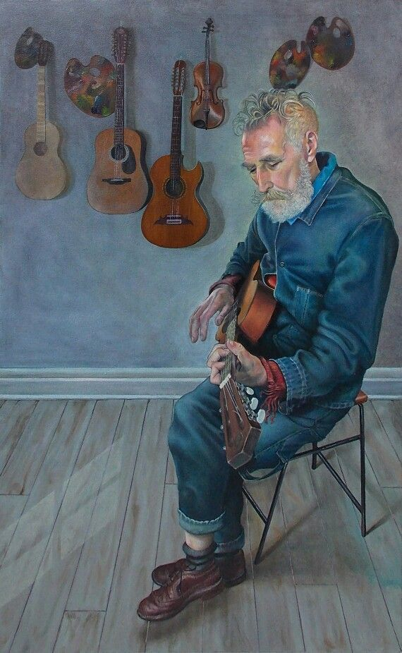 'John Byrne and His Guitars' by artist Mark Mulholland, BP Portrait Award 2014 exhibit National Portrait Gallery London.