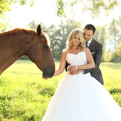 2012 August - Day after the wedding photos taken with our horses near the big willow tree.  From http://jessicazais.com/   Also view  http://www.jessicazaisblog.com/weddings/horse-wedding-photos/
