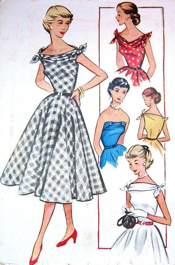 Vintage INFINITE 1950s Dress Pattern Strapless Low V Bateau Cuffed Neck Shoulder Ties Flared Skirt 1