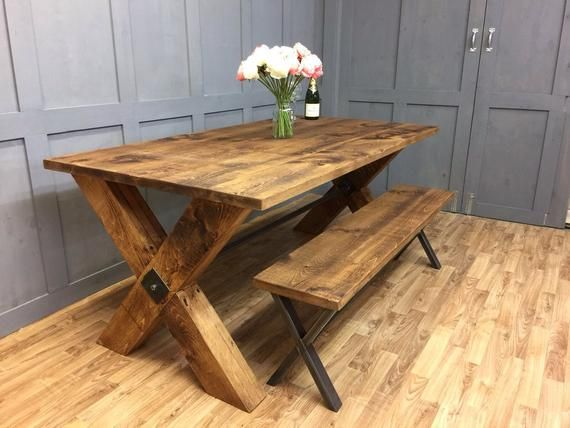 Industrial Dining Table Timber X Frame Style Rustic Vintage