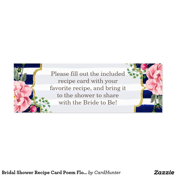 Bridal Shower Recipe Card Poem Floral Navy Stripes ...