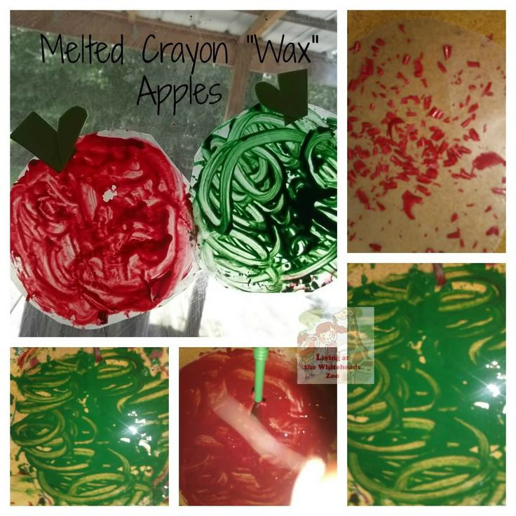 Melted Crayon Wax Apples #preschool #apples