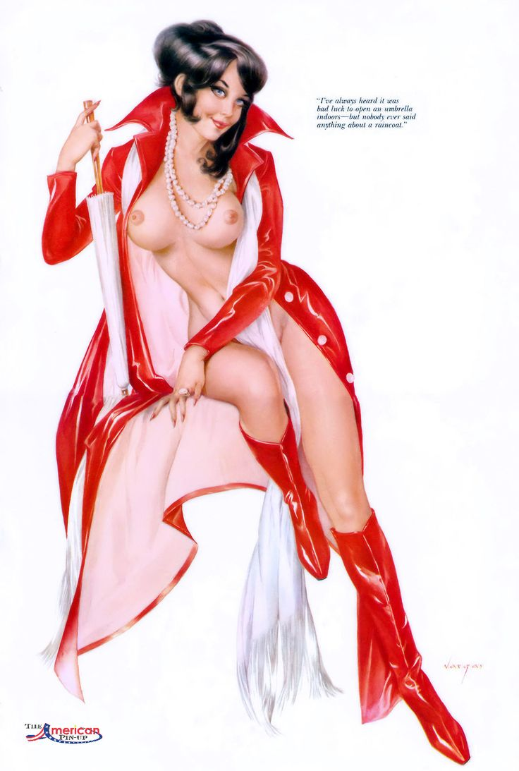 """Alberto Vargas - March 1970 Playboy Magazine Vargas Girl Illustration - """"I've always heard it was bad luck to open an umbrella indoors - but nobody ever said anything about a raincoat."""""""