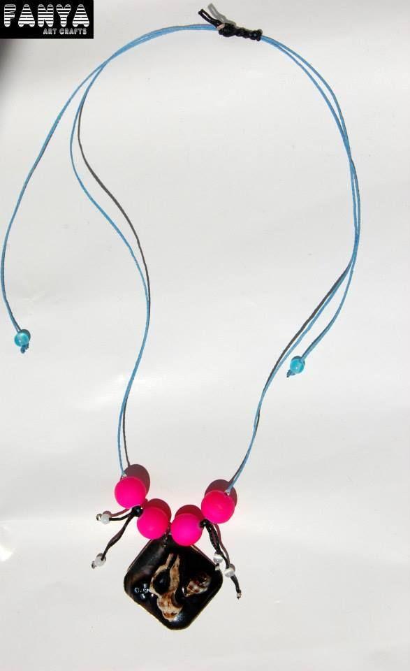 """Ηandmade necklace """"The Black Sea"""" with adjustable length.   *made by seashells, PVC beads, cateye beads, waxed cords  handpainted resin*"""