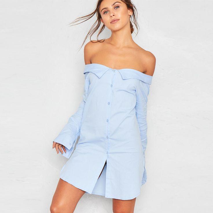 Sexy Backless Split Mini Vestidos Women Long Sleeve Off Shoulder Female Shirts Dress Turn-down Collar Casual Dress