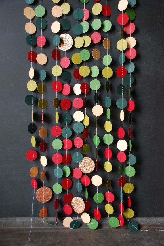 Paint chips, circle punch, sew together for garland all over the house